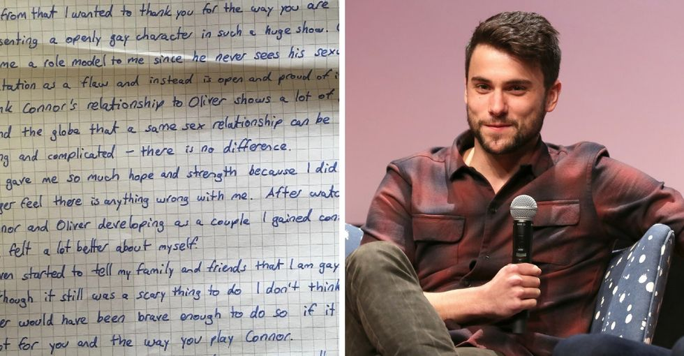 Read the inspiring letter a fan sent actor Jack Falahee for playing a gay character on TV.