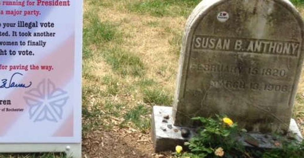 After Hillary Clinton's historic nomination, a sign appeared at Susan B. Anthony's grave.
