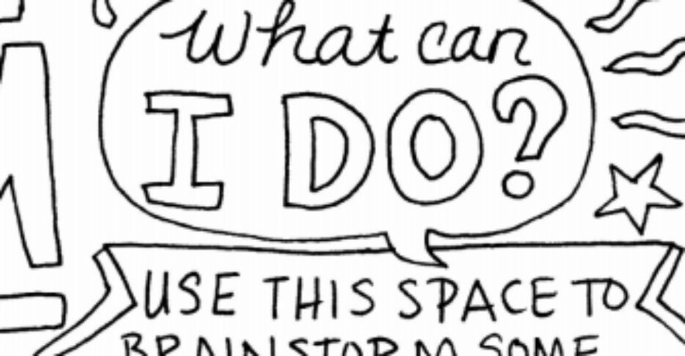 An unlikely antidote for a tough news day? A coloring book page.