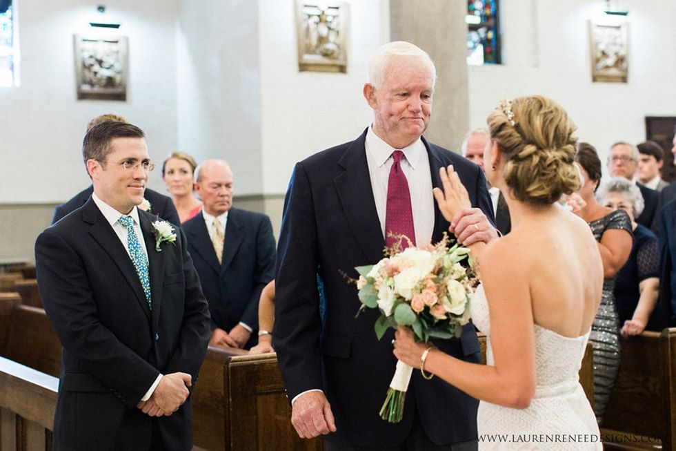 She lost her father 10 years ago but reunited with his heart on her wedding day.