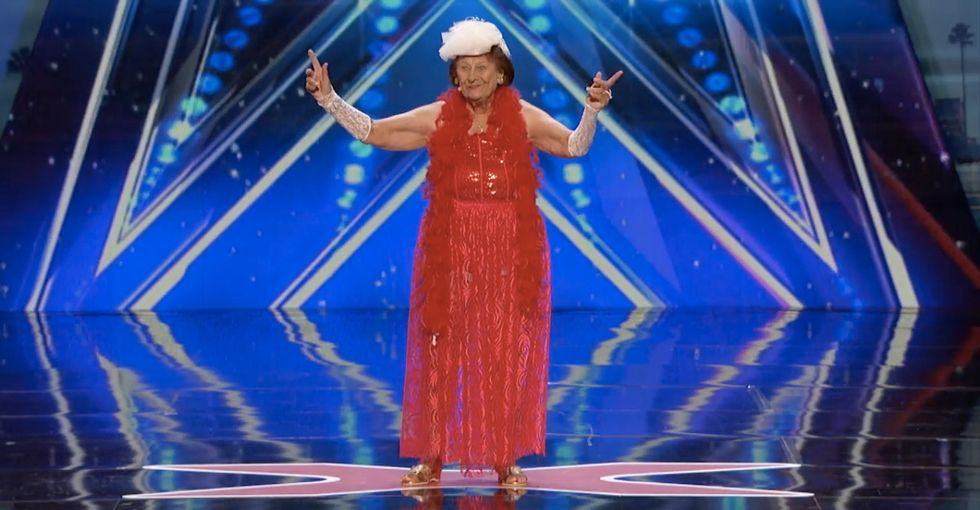 Watch this 90-year-old woman give the performance of a lifetime on national TV.
