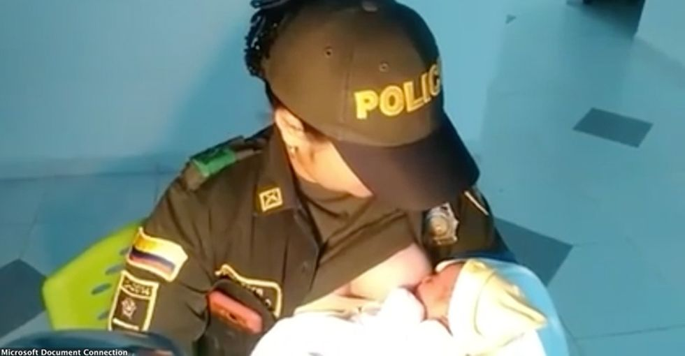 A Colombian police officer helped save a baby's life by breastfeeding. Amazing!
