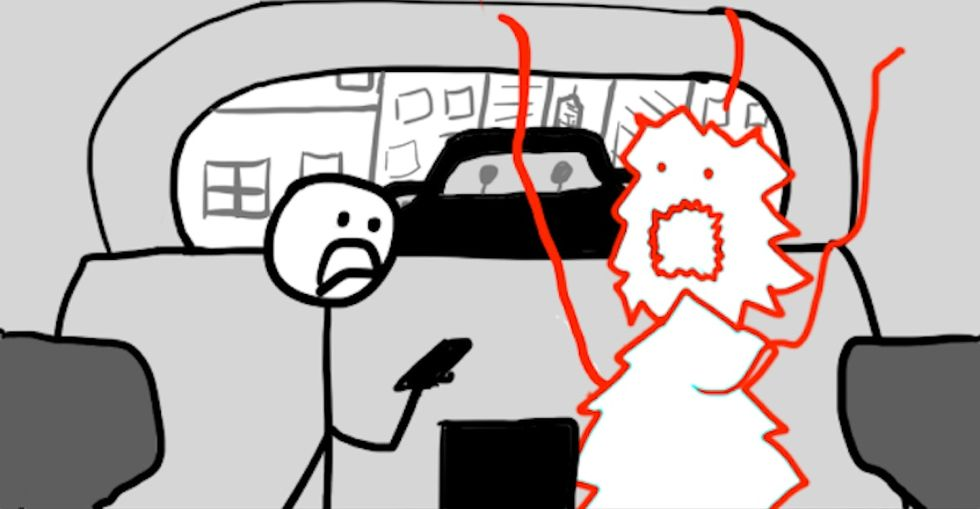 Inside the heads of people who are always late, as explained by stick figures.