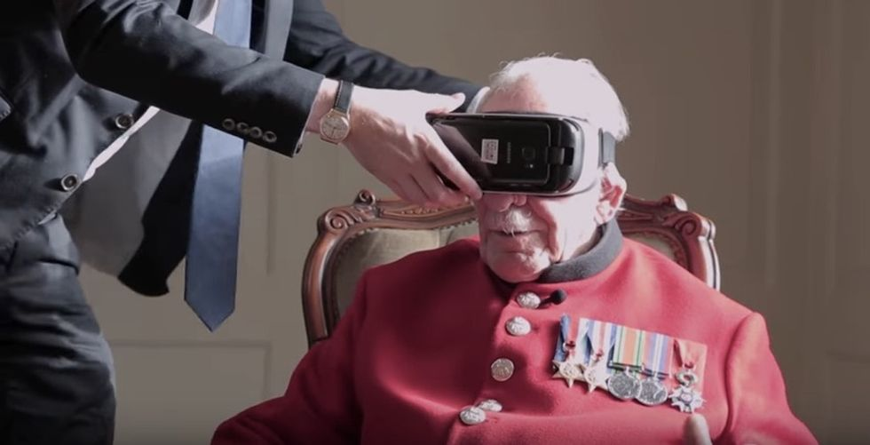 During WWII, he helped free a French town. His reaction to seeing it today is beautiful.