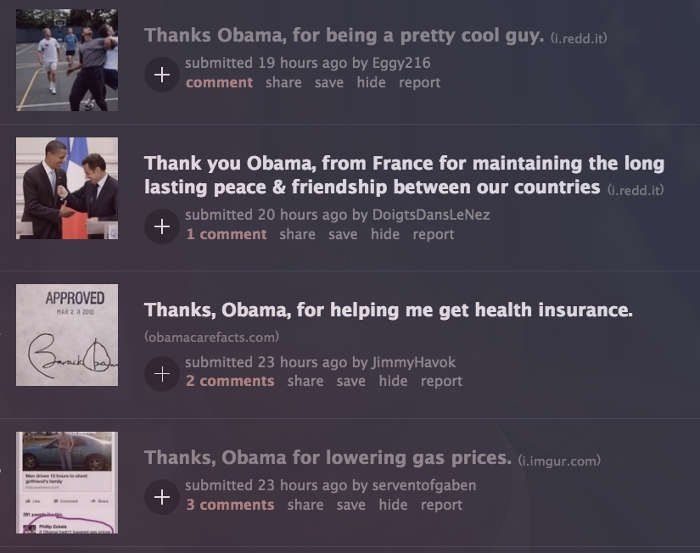 Dozens of people on Reddit are saying 'Thanks, Obama ' For