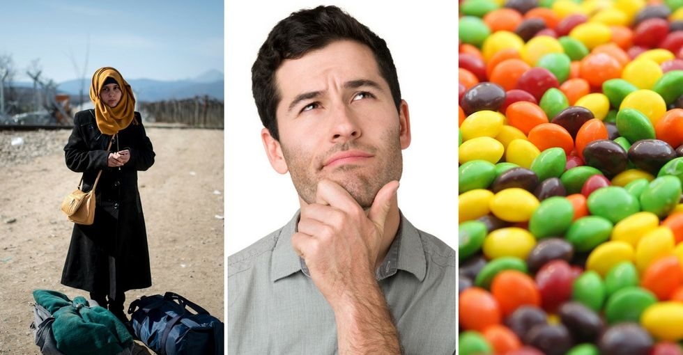 A quick and easy guide to the differences between Skittles and refugees.