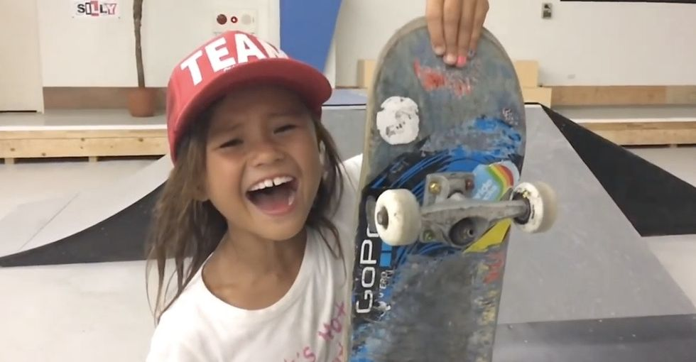 This awesome skateboarder is 8 years old, and she just made history.