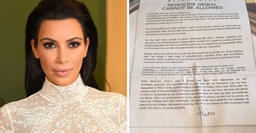 A major newspaper ran an ad by genocide deniers. Kim Kardashian isn't having it.