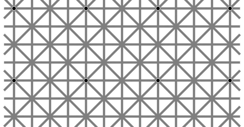 How many of your friends can see all the dots in this optical illusion? Probably none.
