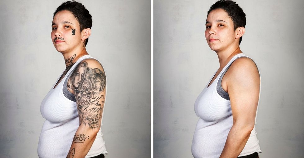 9 former gang members see photos of themselves without tattoos for the first time.