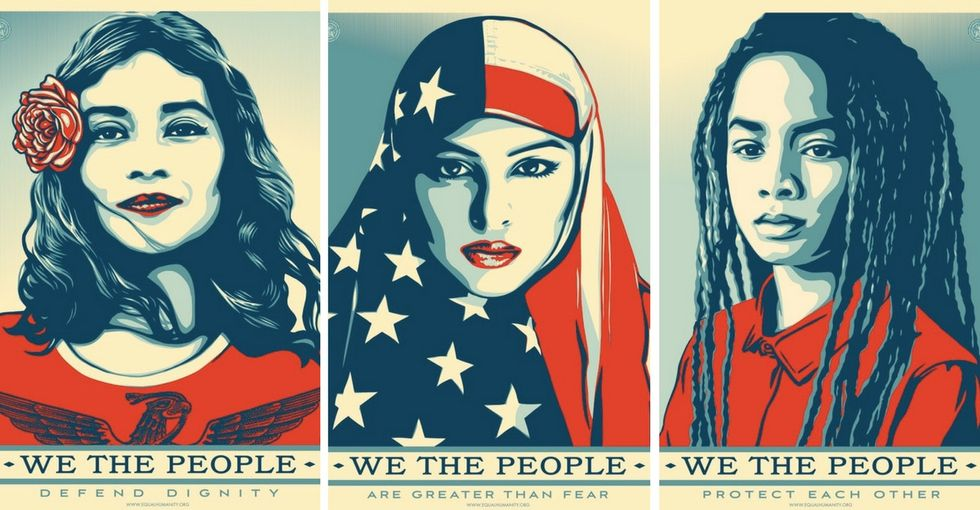 'We the People' updates Shepard Fairey's 2008 'Hope' poster for the Trump years.