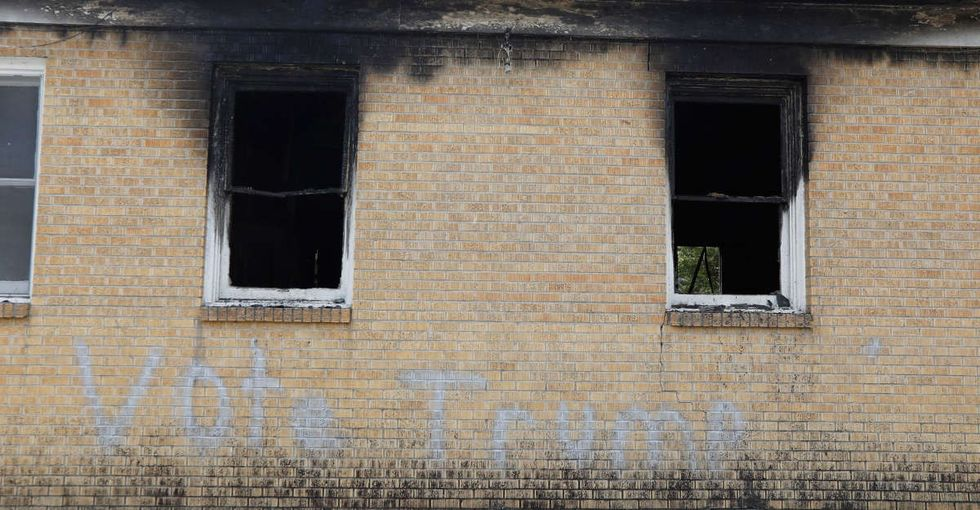 The vandals who burned a black church and wrote 'Vote Trump' on it are not who we are.