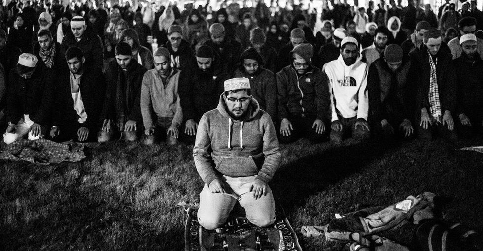 Allies took a stand for praying Muslim students at the University of Michigan.