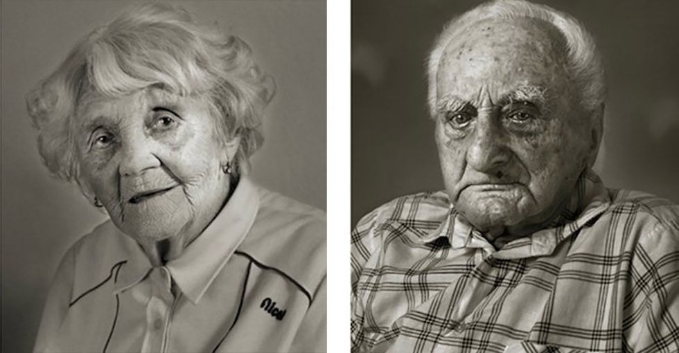 13 side-by-side portraits of people over 100 with their younger selves