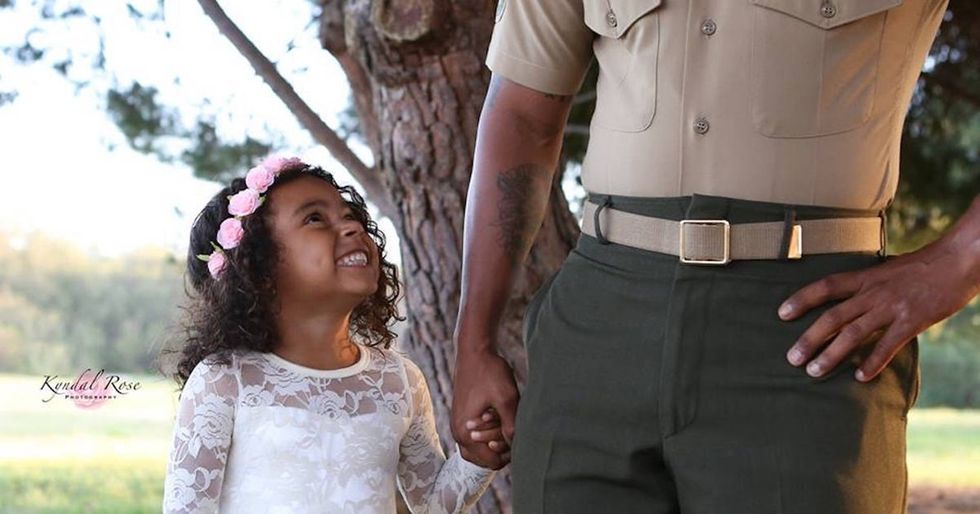A Marine dad had a tea party with his daughter, and people are loving it.