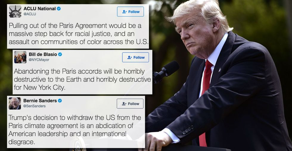 15 Twitter reactions from Trump abandoning the Paris climate agreement.