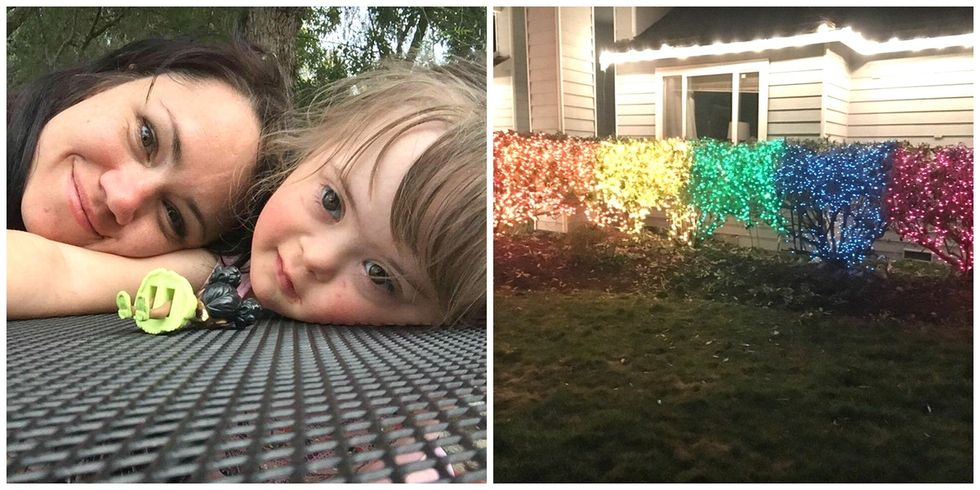 What the mom behind the viral rainbow Christmas lights wants people to know.