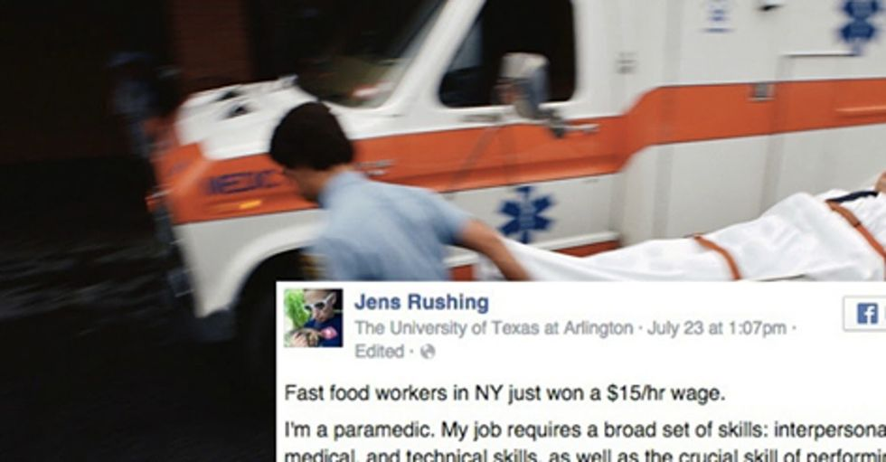A paramedic's angry post about other workers getting a wage bump has a great twist.