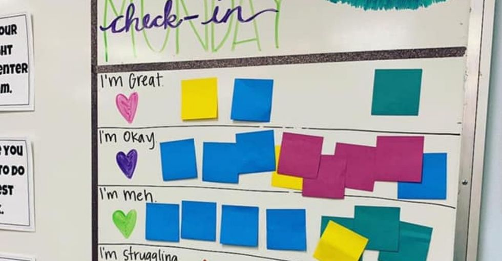 This teacher's viral 'check-in' board is a beautiful example of mental health support