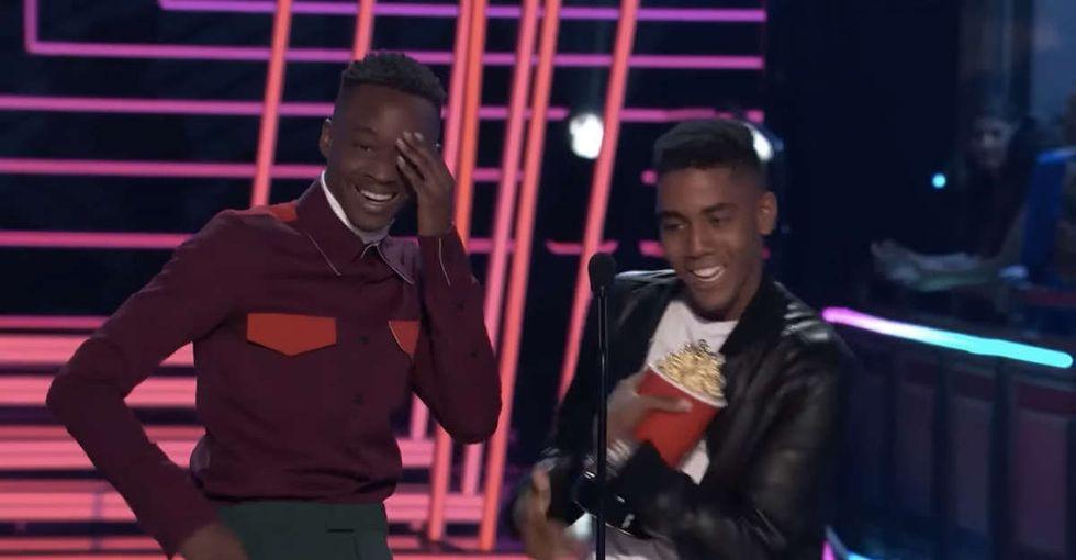 After winning Best Kiss, 2 'Moonlight' stars gave a thrilling, emotional speech.