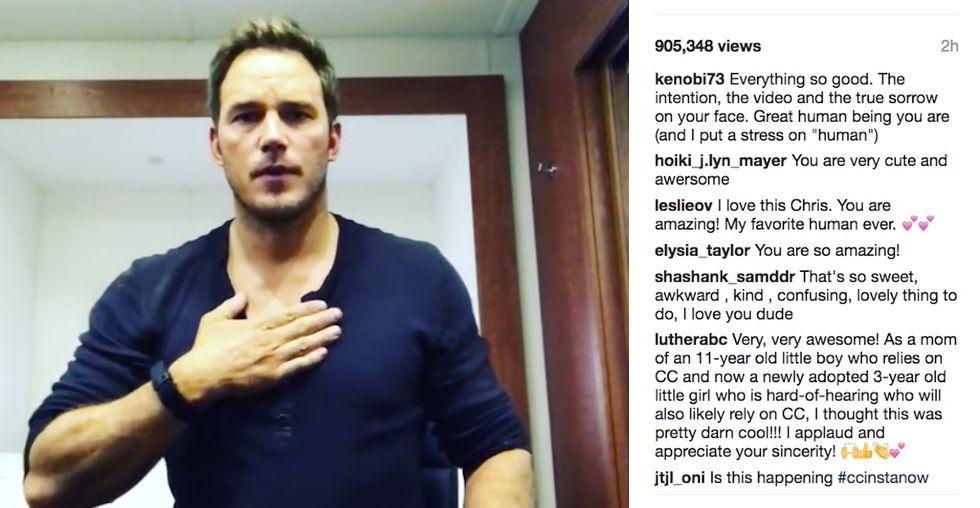 Chris Pratt apologized to deaf fans online then had harsh words for Instagram itself.