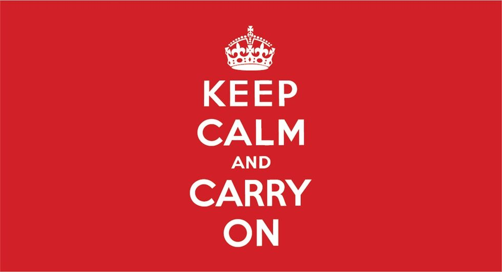 'Keep Calm and Carry On' is clichéd. It's also missing two-thirds of the original message.