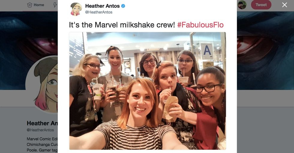 Marvel writer harassed for having a milkshake with coworkers? It's as silly as it sounds.