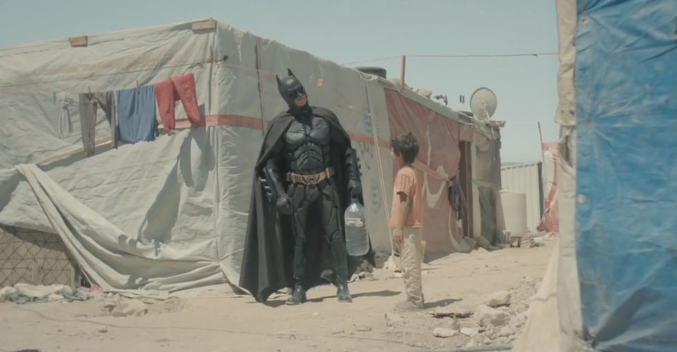This PSA about refugee parents and children stars Batman. It's remarkably sweet.