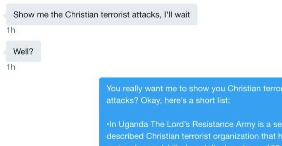 A troll demanded a Muslim man show examples of 'Christian terrorists.' He delivered.