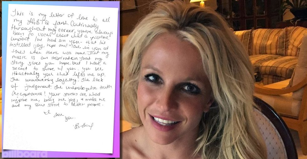 Read Britney Spears' beautifully candid open letter to her LGBTQ fans.