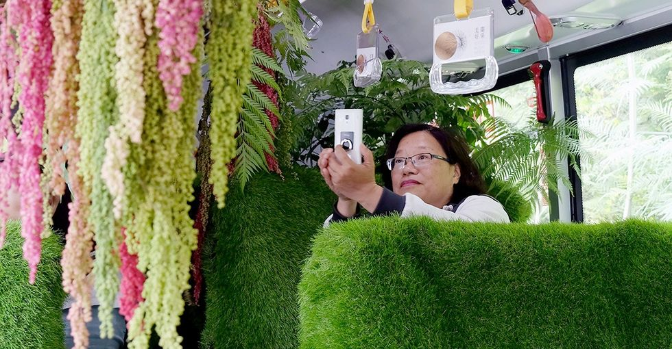 See how artists transformed a city bus into a mobile enchanted forest.
