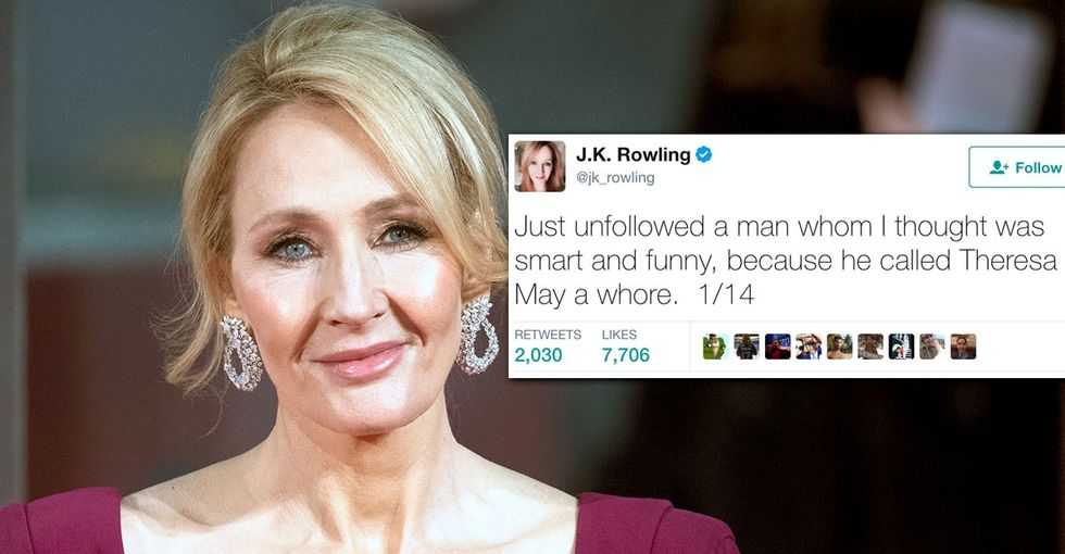 J.K. Rowling blasts the hypocrisy of sexist 'liberal' men in an epic tweetstorm.