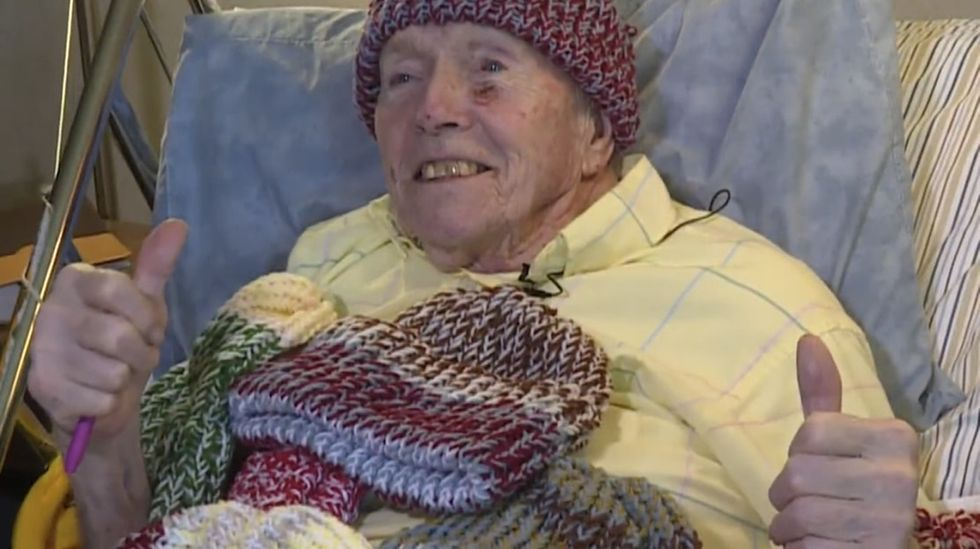 This 92-year-old's knit hats are warming homeless people. His story will warm your heart.