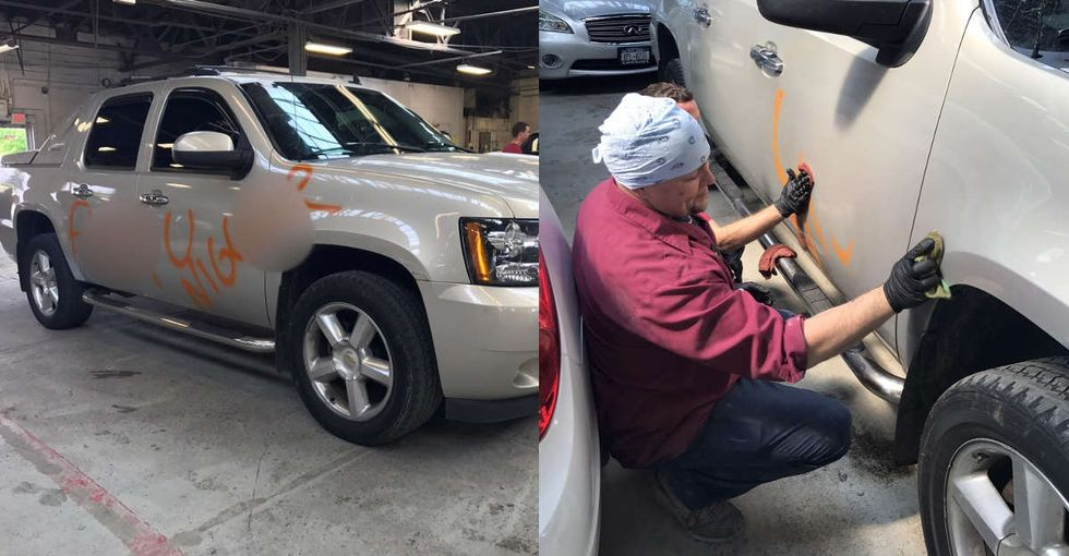 A Buffalo body shop knew just what to do when a truck covered in racist slurs pulled in.