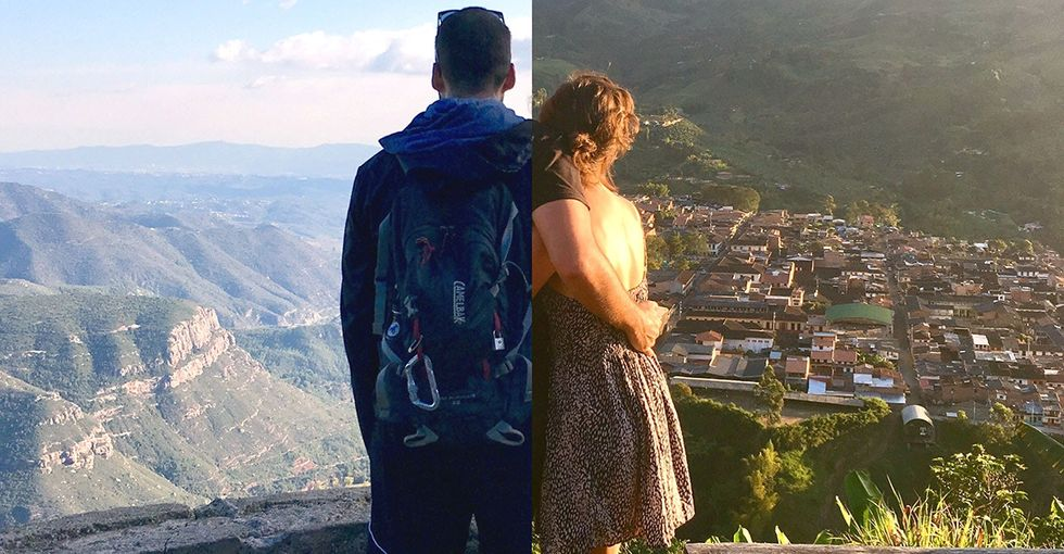 They're traveling on opposite sides of the world, but photography keeps them close.