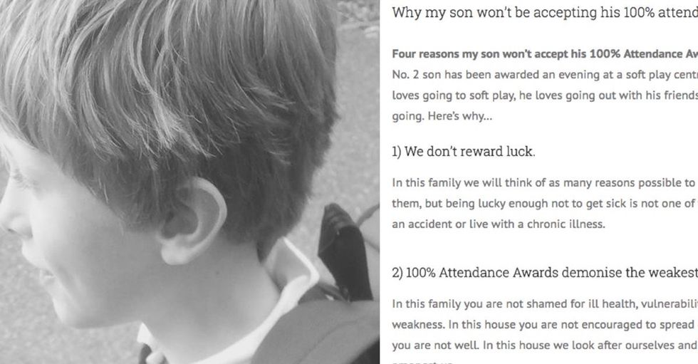 Mom won't let her son accept his perfect attendance award, saying it's unfair to other kids.