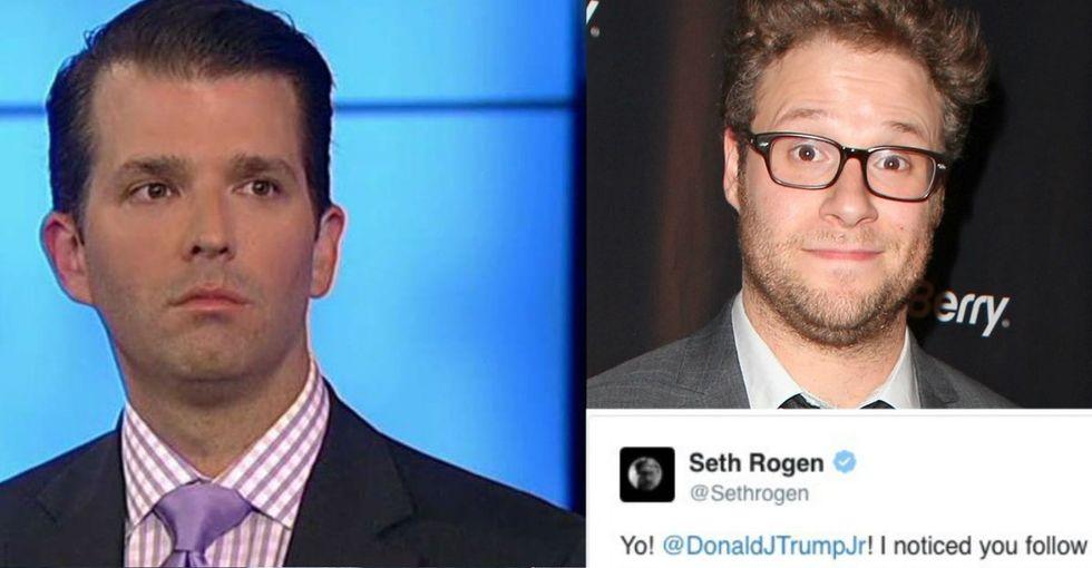 When Seth Rogen saw Donald Trump Jr. followed him on Twitter, he seized an opportunity.