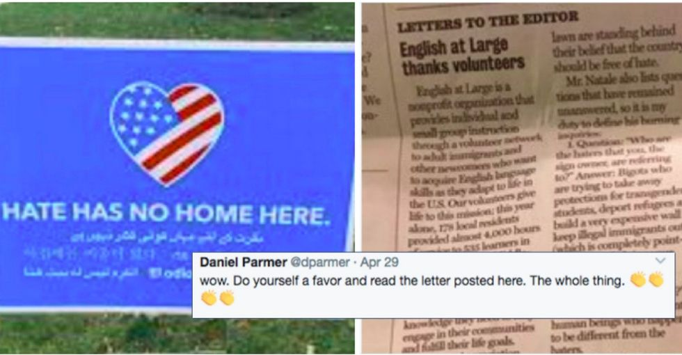 Trump supporter who complained about a lawn sign gets schooled by a 7th grader.
