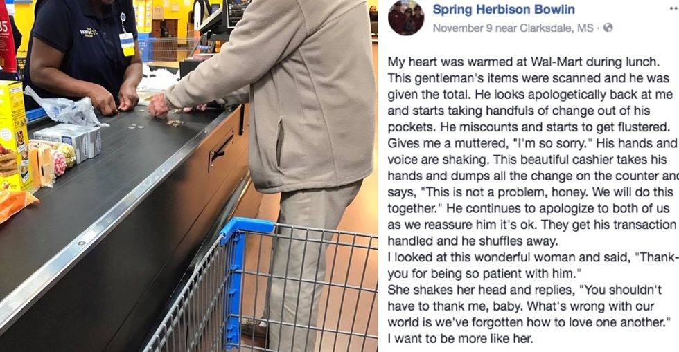 A man was holding up the line counting his change. The cashier's response is going viral.