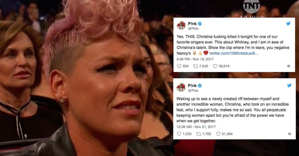 This photo of Pink 'shading' Christina Aguilera went viral. Now she's shutting it down.