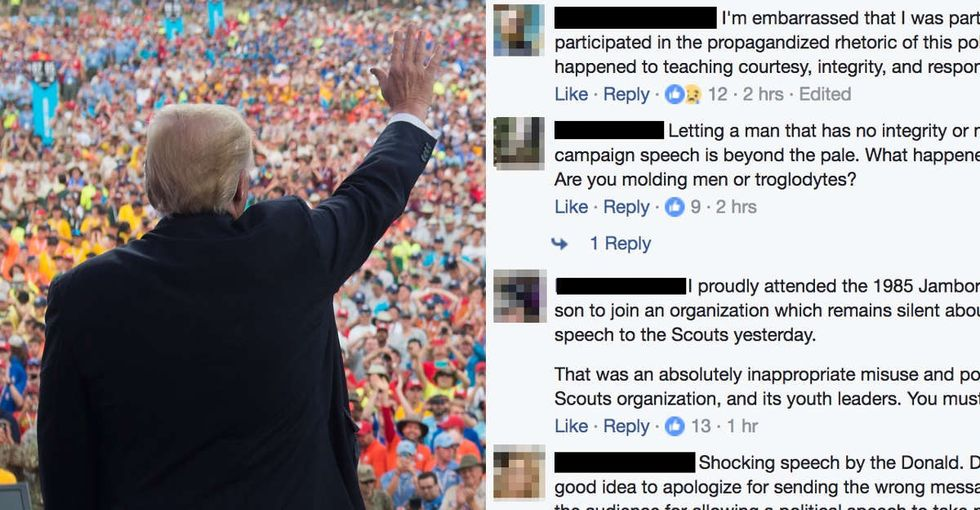 Parents and alumni were furious about Trump's speech to the Boy Scouts.
