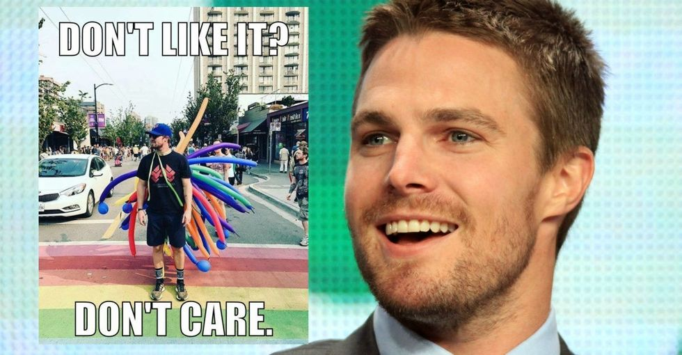 Stephen Amell blasts the trolls who criticized his pro-LGBTQ Facebook post.
