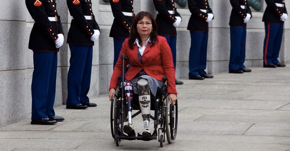 Sen. TammyDuckworth takes Trump to task over his trans military ban.