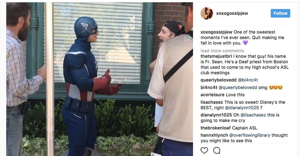 Watch this Disneyland visitor's joy when Captain America joins him in sign language.