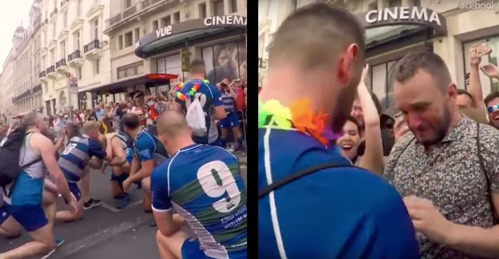 A rugby player wanted to propose to his boyfriend, so he got the whole team in on it.