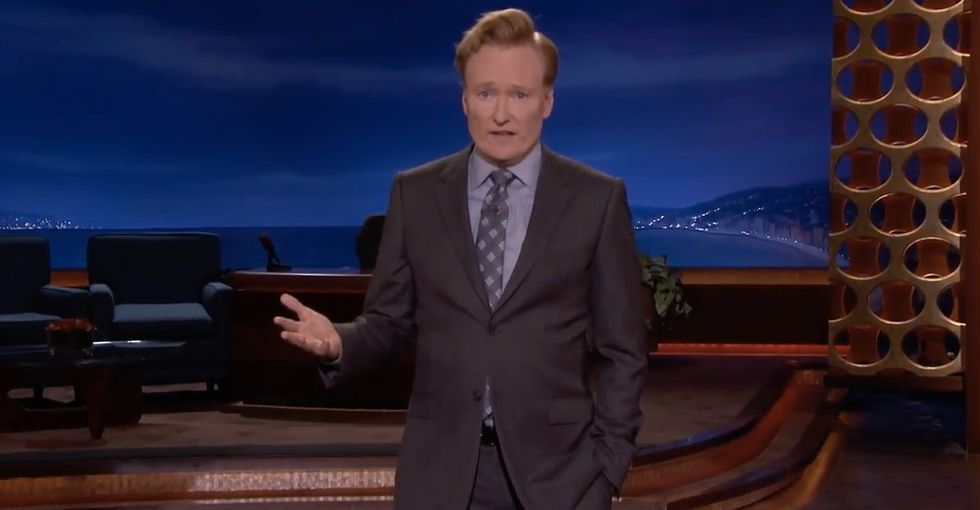 Conan O'Brien laments the normalization of mass shootings in a somber monologue.