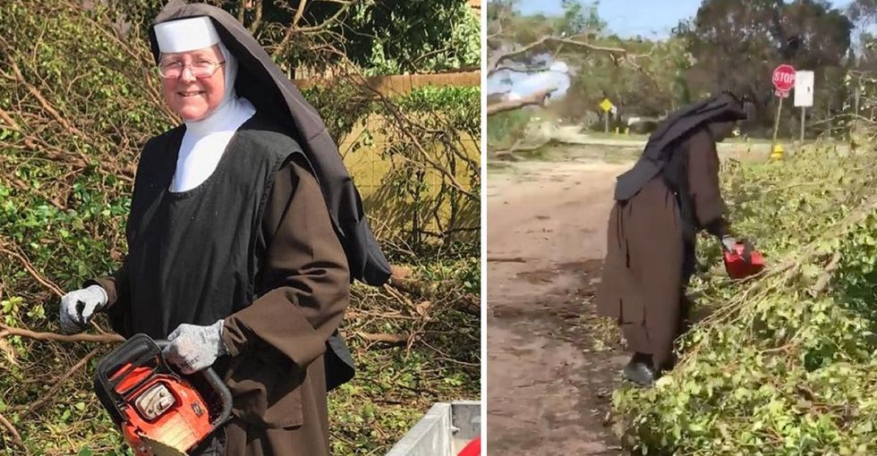 A nun is going viral for her mad chainsaw skills during hurricane cleanup in Florida.