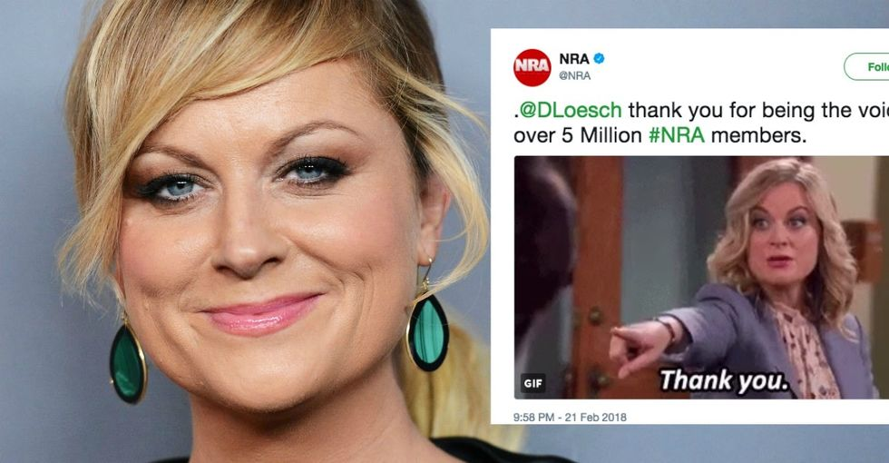 Amy Poehler sent a very candid message to the NRA after it used a GIF of her.
