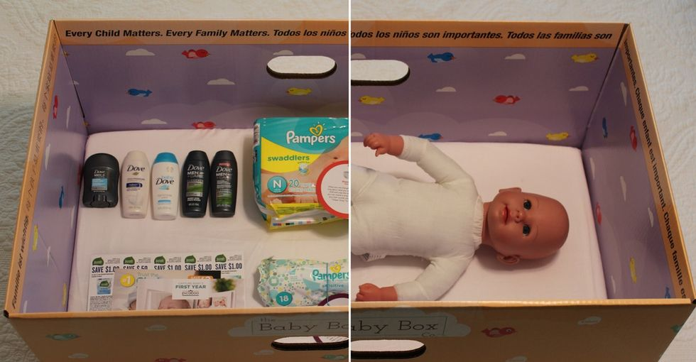 Photos of what's inside those 'baby boxes' you keep hearing about.