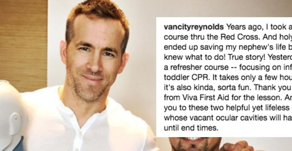 Ryan Reynolds shared an Instagram post nailing why everyone should know CPR.
